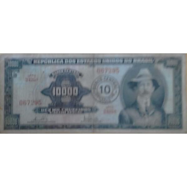 10.000 CRUZEIROS PRIMEIRA ESTAMPA C/CARIMBO DE 10 ...
