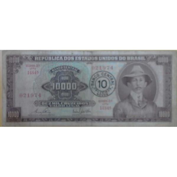 10.000 CRUZEIROS SEGUNDA ESTAMPA C/CARIMBO DE 10 C...