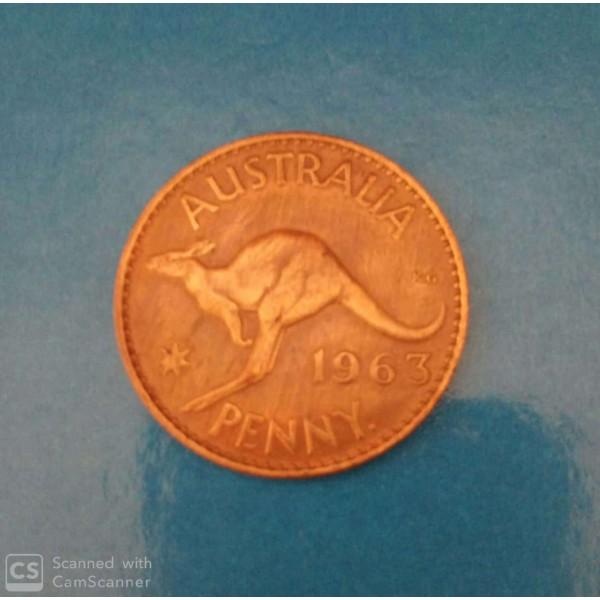 1 PENNY DE COBRE ANO 1963  CANGURU AUSTRÁLIA