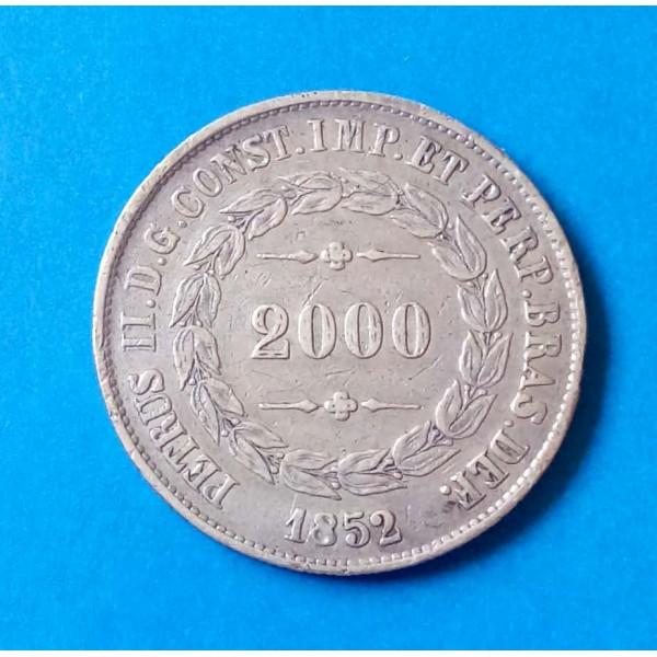 BRASIL IMPÉRIO 2000 RÉIS DE PRATA ANO 1852